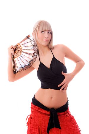 showbusiness: beautiful sexy blond woman dancing with a fan isolated against white background Stock Photo