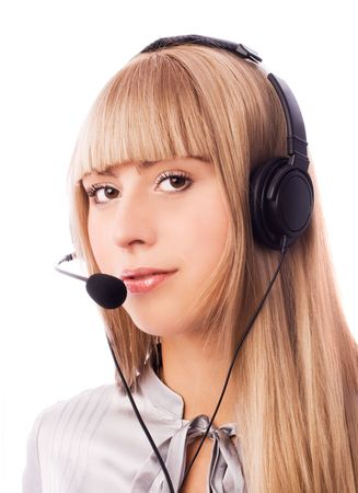 beautiful woman working in the call-center isolated against white background photo