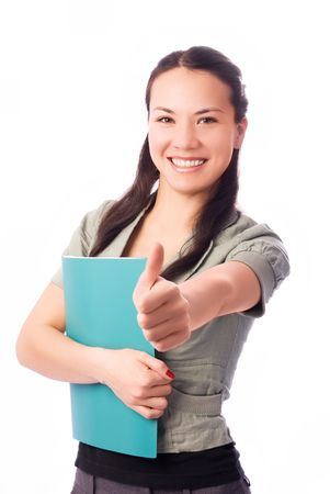 persuade: happy confident student with her thumb up isolated against white background