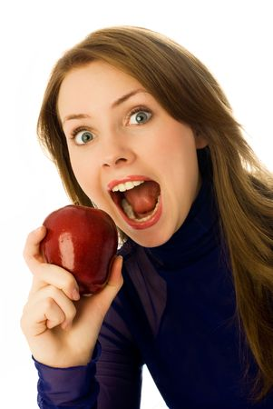 beautiful young woman eating an apple isolated against white background photo