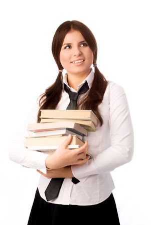 happy beautiful student with books isolated against white background photo