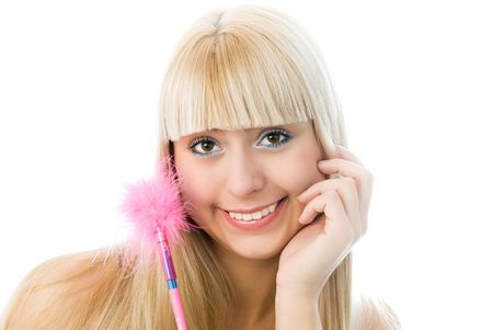 charming blond girl with a pen with pink fur isolated against white background photo