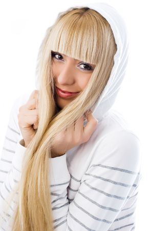 very: charming girl with beautiful long blond hair wearing a warm jacket with a hood