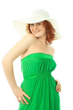 portrait of a beautiful young sexy woman dresses in summer clothes photo