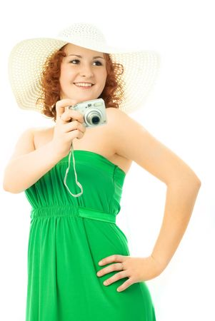 beautiful young sexy woman with a camera in her hand Stock Photo - 4185972