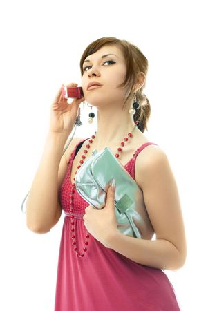portrait of a beautiful glamorous woman talking on the cellphone photo
