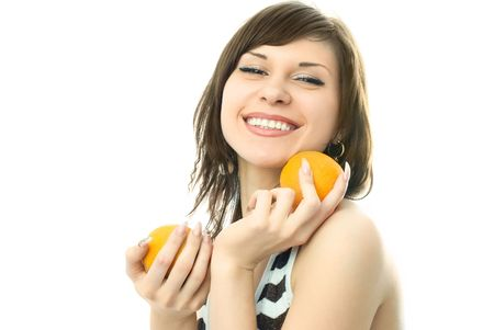 happy beautiful young woman with oranges in her hands photo