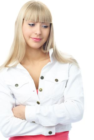 beautiful young blond woman thinking about something and smiling photo