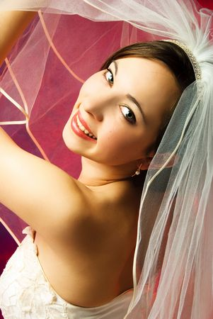 portrait of a young bride with a white veil against red background photo