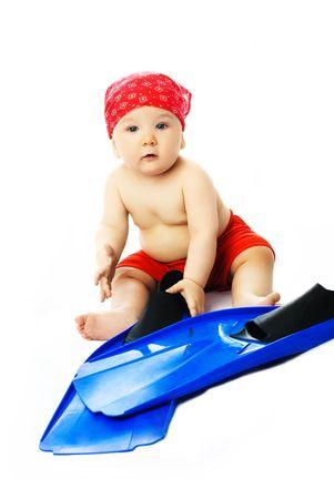 flippers: cute baby llevar ropa de verano azul con aletas listos para la temporada de playa Foto de archivo
