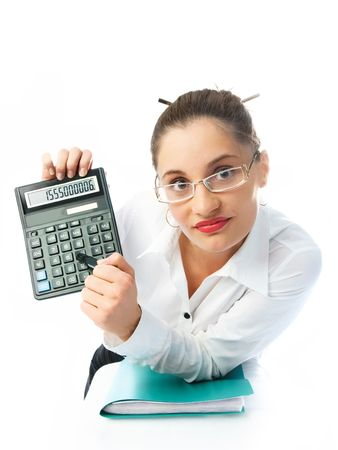 young attractive accountant holding a calculator and showing us the figures Stock Photo - 4483520