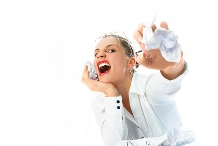 angry businesswoman shouting loud and throwing papers at us Stock Photo - 4483371