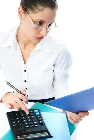 portrait of a young attractive businesswoman with a calculator Stock Photo - 4520021