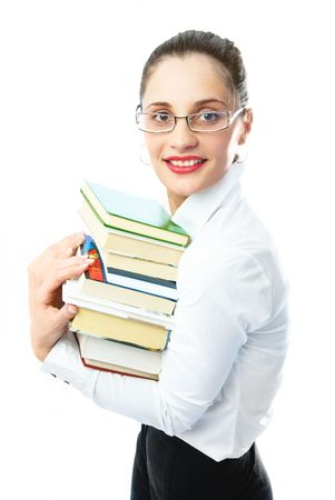 bring: portrait of a beautiful librarian with a lot of books in her hands