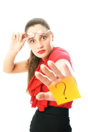 insist: young attractive businesswoman with a sticky note with a question mark on her hand