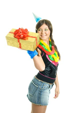 bring: happy young beautiful girl carrying a birthday present in her hands