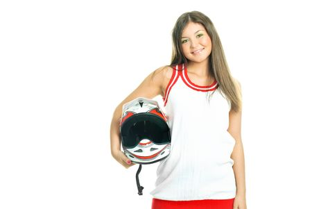 giggle: pretty young woman holding a motorcycle helmet, isolated against white background Stock Photo