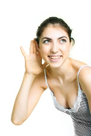portrait of happy pretty girl listening to something photo