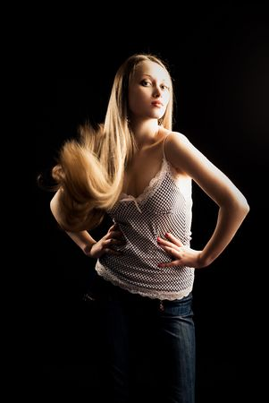 portrait of a pretty young blond woman with beautiful long hair Stock Photo - 4841179