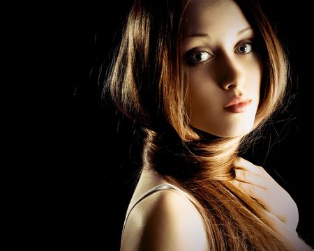 silky: pretty blond woman with beautiful long hair fastened as a scarf