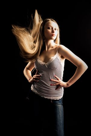 portrait of a pretty young blond woman with beautiful long hair Stock Photo - 4841201