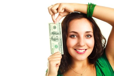 beautiful young brunette woman with one hundred dollar banknote Stock Photo - 4929724