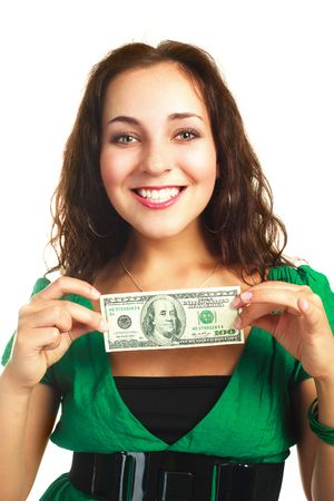 beautiful young brunette woman with one hundred dollar banknote photo