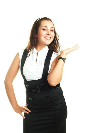 portrait of a young beautiful confident businesswoman pointing at something Stock Photo - 4929706