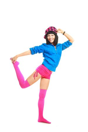 beautiful sporty young brunette woman wearing colorful clothes photo