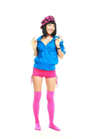 coquettish: beautiful coquettish young brunette woman wearing colorful clothes