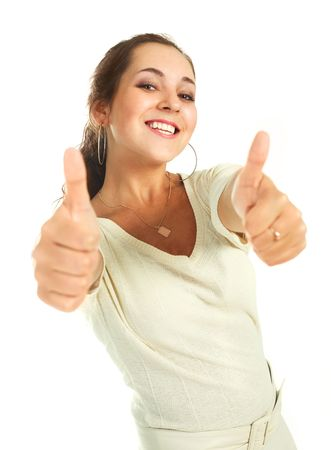 persuade: portrait of a beautiful young brunette woman with her thumbs up Stock Photo