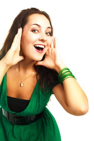portrait of a beautiful young excited woman against white background photo