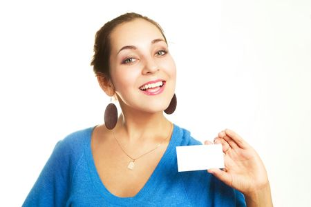 portrait of a young cheerful businesswoman showing us a business card  photo