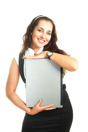portrait of a young beautiful successful woman holding a laptop  Stock Photo - 5010178
