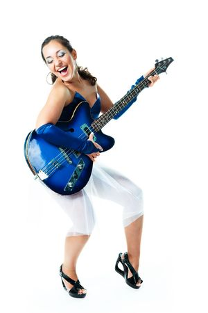 hardrock: portrait of a happy excited brunette girl with a guitar