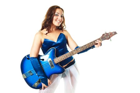 hardrock: sexy young brunette woman playing the guitar