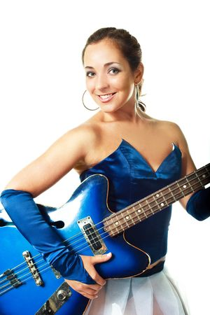 hardrock: portrait of a sexy young brunette woman playing the guitar