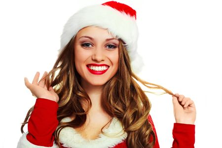 portrait of a sexy young woman with long hair dressed as Santa Stock Photo - 5721367
