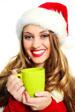 portrait of a sexy girl dressed as Santa drinking coffee Stock Photo - 5721374
