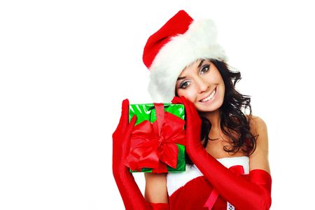 beautiful young brunette woman dressed as Santa with a present in her hands Stock Photo - 5811653
