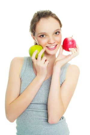 loose skin: beautiful happy young woman with two apples isolated against white background Stock Photo