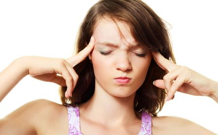 beautiful young brunette woman suffering from headache Stock Photo - 5905228