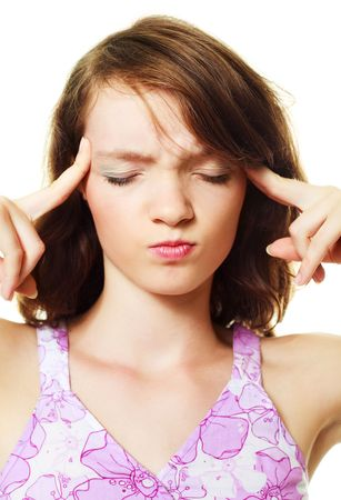 beautiful young brunette woman suffering from headache Stock Photo - 5905298