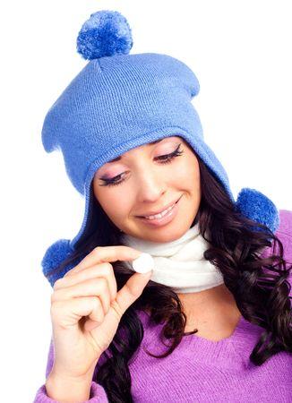 dudando: hermosa chica hesitating sosteniendo una tableta en su mano aislado sobre fondo blanco  Foto de archivo