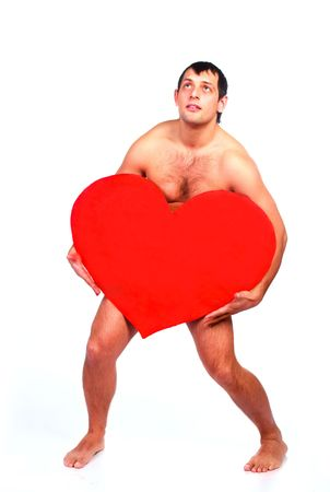 handsome muscular nude young man with a big heart in his hands Stock Photo - 6207731