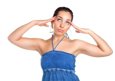 beautiful young brunette woman suffering from headache Stock Photo - 6290171