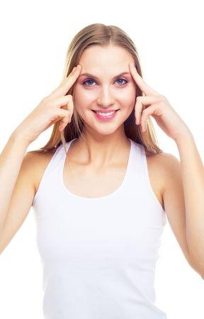 beautiful woman making herself a face massage photo