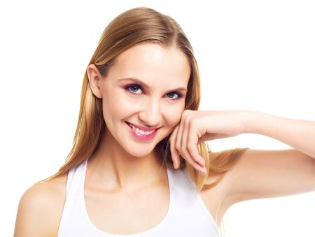underarms: portrait of a beautiful young blond woman touching her cheek Stock Photo
