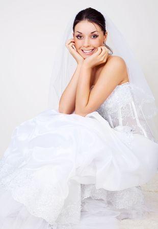 portrait of a beautiful young brunette bride photo