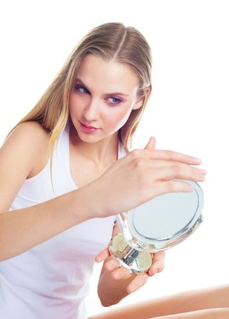 portrait of a beautiful young woman having skin problems Stock Photo - 6378193